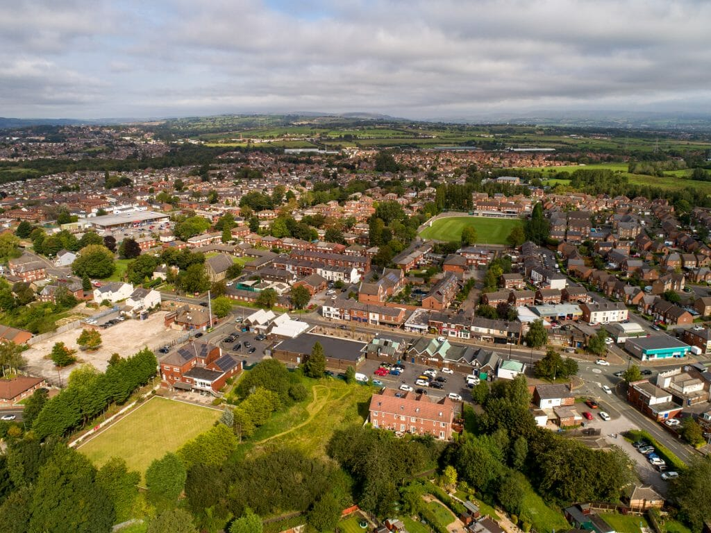 Aerial shot of Little Lever